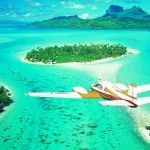 Airplane view on Bora Bora